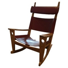 Danish Rocking Chair GE-673 'Keyhole' Designed by Hans Jørgen Wegner