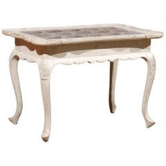 Danish Rococo Style Painted Table with Tiles, Cabriole Legs and Carved Apron