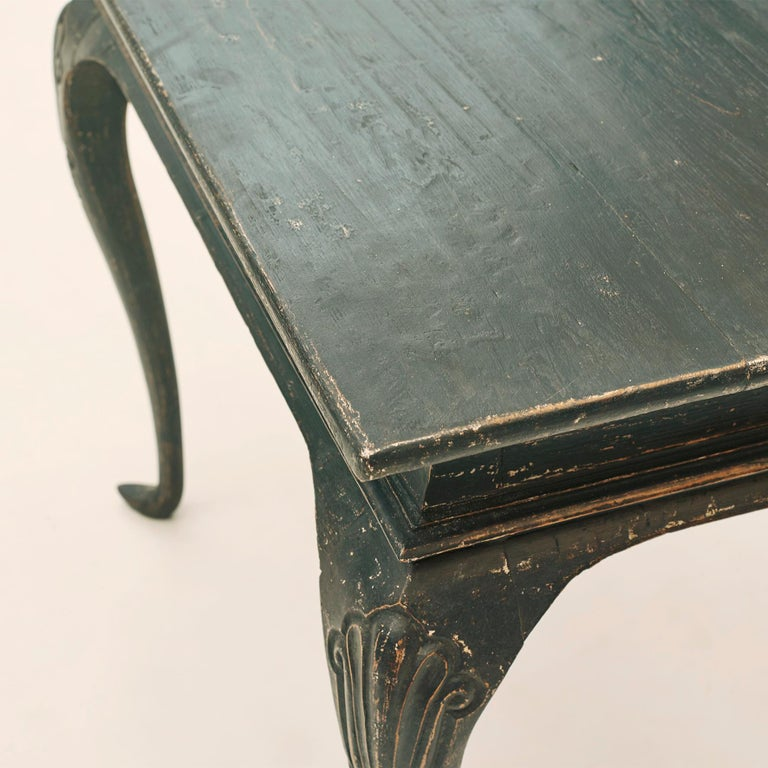 18th Century Danish Rococo Table Black Painted Pine on Four Cabriole Legs For Sale