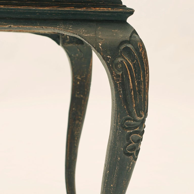 Danish Rococo Table Black Painted Pine on Four Cabriole Legs For Sale 3