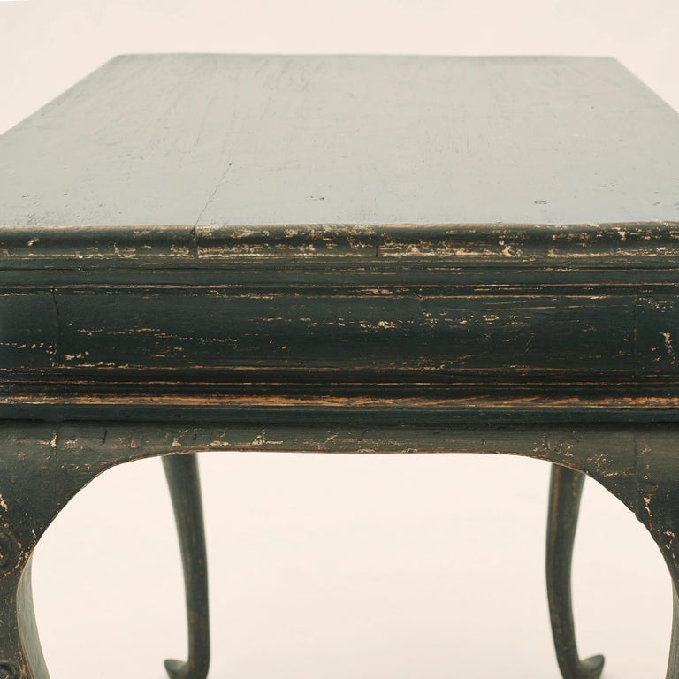 Danish Rococo Table Black Painted Pine on Four Cabriole Legs For Sale 4