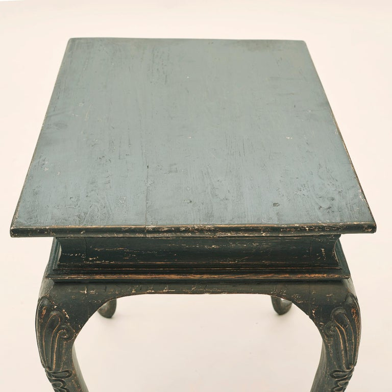 Danish Rococo Table Black Painted Pine on Four Cabriole Legs For Sale 5