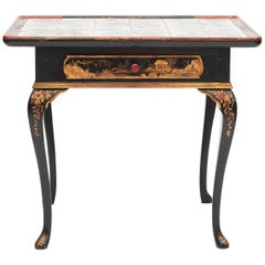 Danish Rococo Tile-Top Table with Chinese Motifs