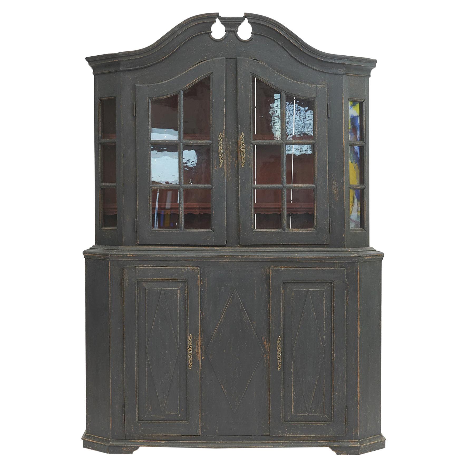 Danish Rococo Vitrine Cabinet