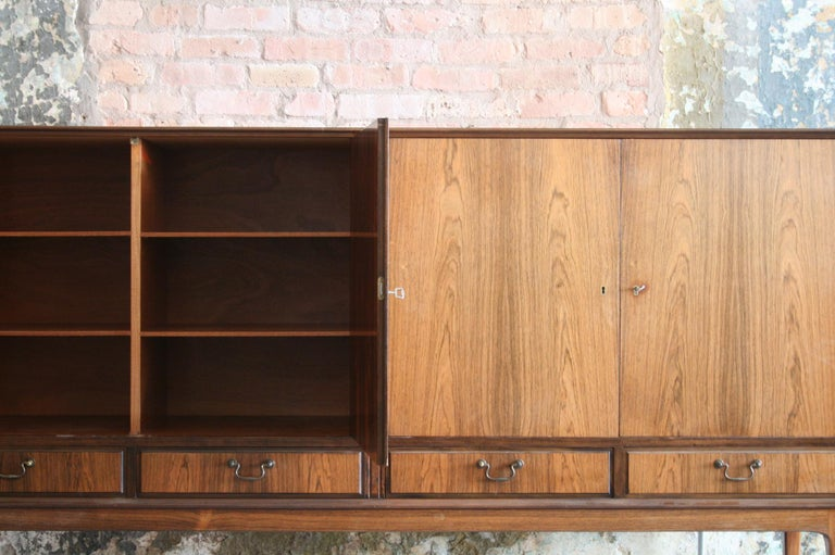 Brass Danish Rosewood Credenza after Ole Wanscher, circa 1960s For Sale