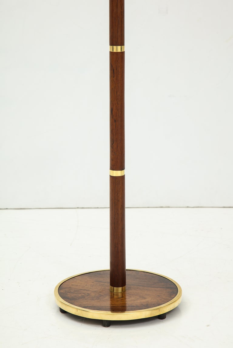 Scandinavian Modern Danish Rosewood and Brass Banded Floor Lamp by Fog & Mørup, circa 1960s For Sale