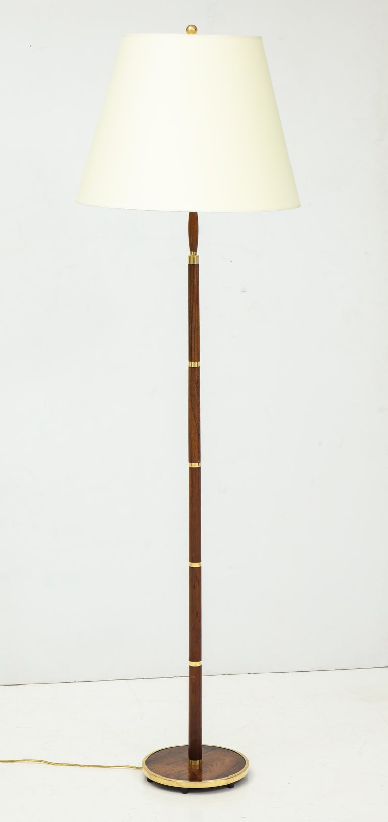 Danish Rosewood and Brass Banded Floor Lamp by Fog & Mørup, circa 1960s For Sale 2