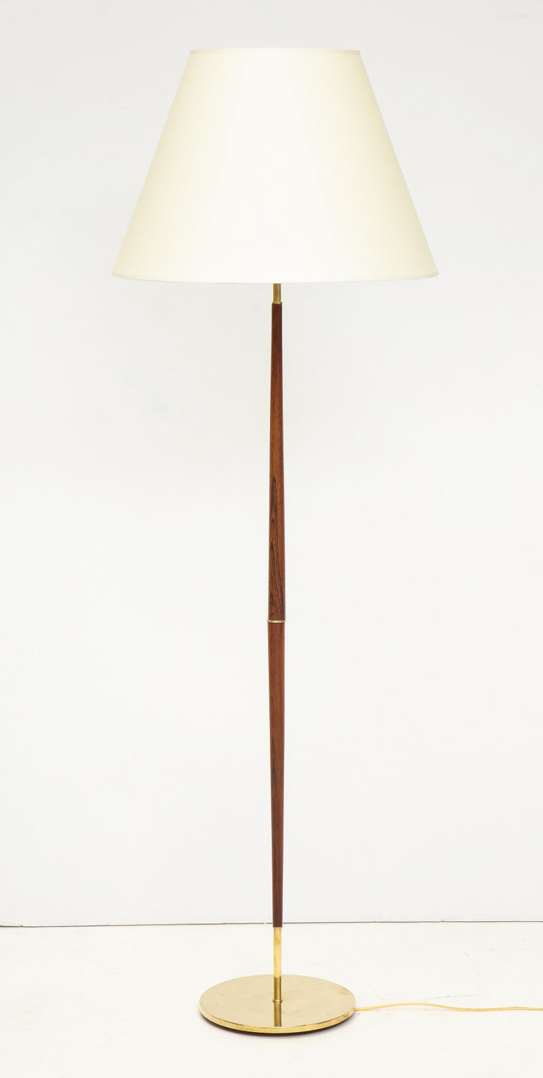 Mid-Century Modern Danish Rosewood and Brass Floor Lamp, circa 1960s For Sale