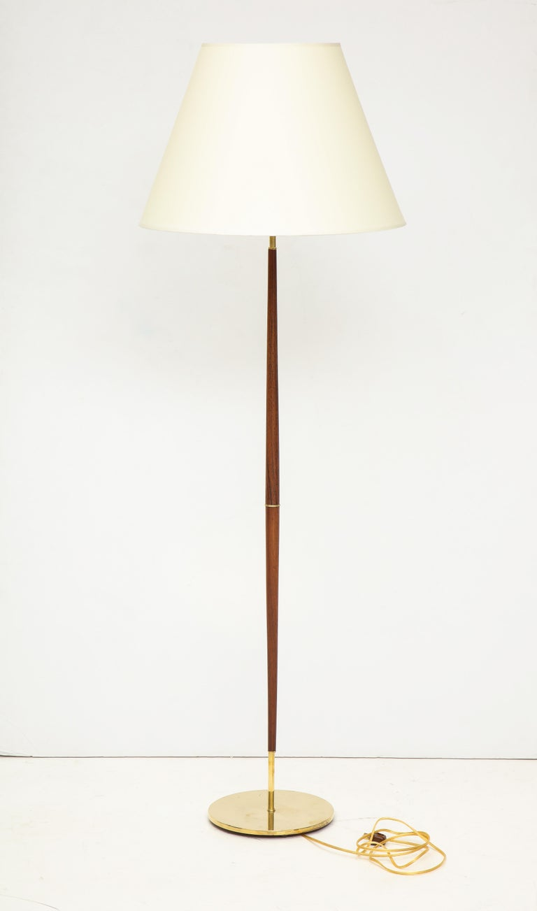 Danish Rosewood and Brass Floor Lamp, circa 1960s In Good Condition For Sale In New York, NY