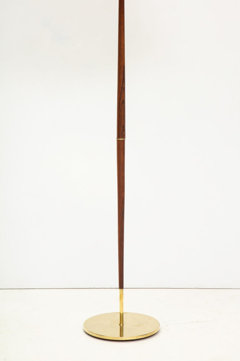 Mid-20th Century Danish Rosewood and Brass Floor Lamp, circa 1960s For Sale