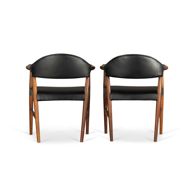 Mid-Century Modern Danish Rosewood and Leather Chairs by Kurt Olsen, Set of Two  For Sale