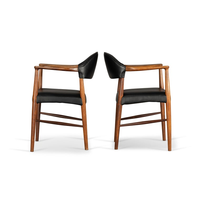 Dyed Danish Rosewood and Leather Chairs by Kurt Olsen, Set of Two  For Sale