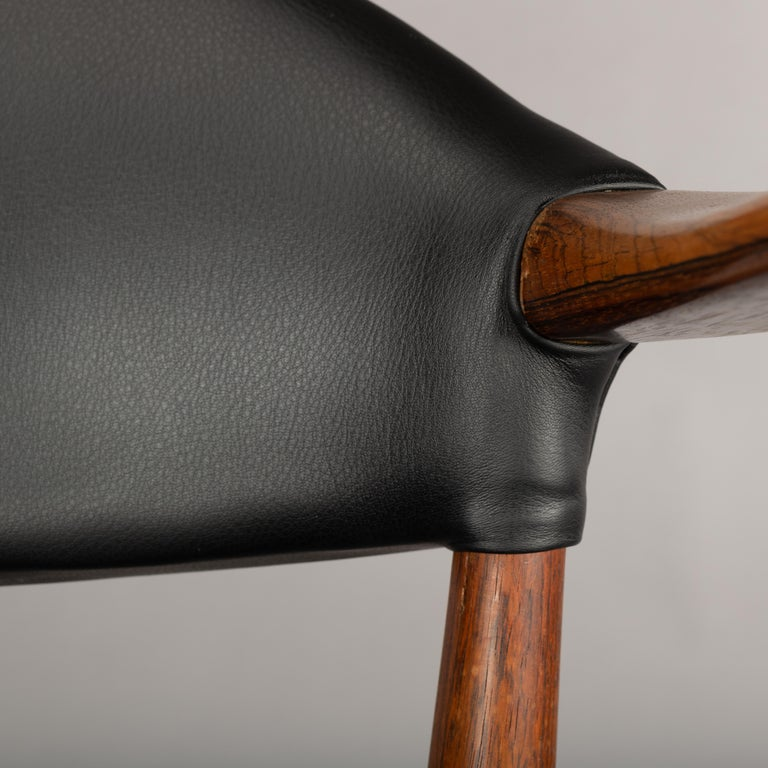 Danish Rosewood and Leather Chairs by Kurt Olsen, Set of Two  For Sale 1