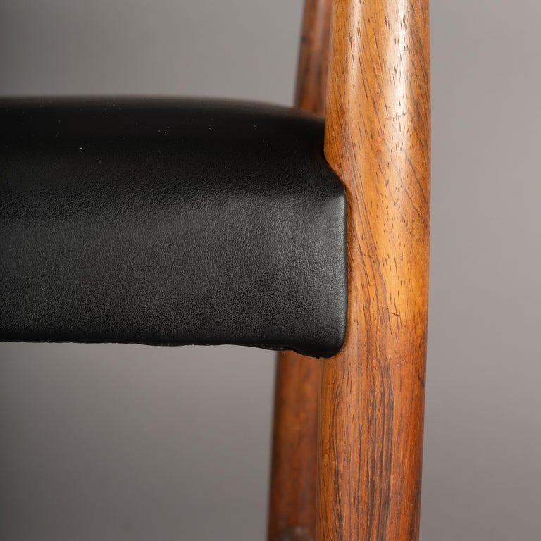 Danish Rosewood and Leather Chairs by Kurt Olsen, Set of Two  For Sale 2