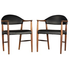 Danish Rosewood and Leather Chairs by Kurt Olsen, Set of Two