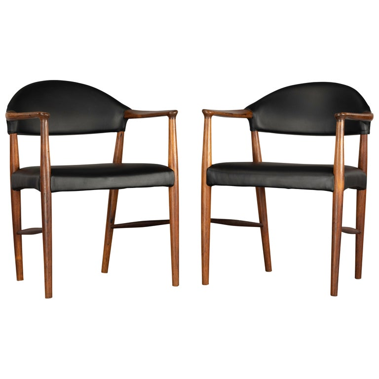 Danish Rosewood and Leather Chairs by Kurt Olsen, Set of Two  For Sale