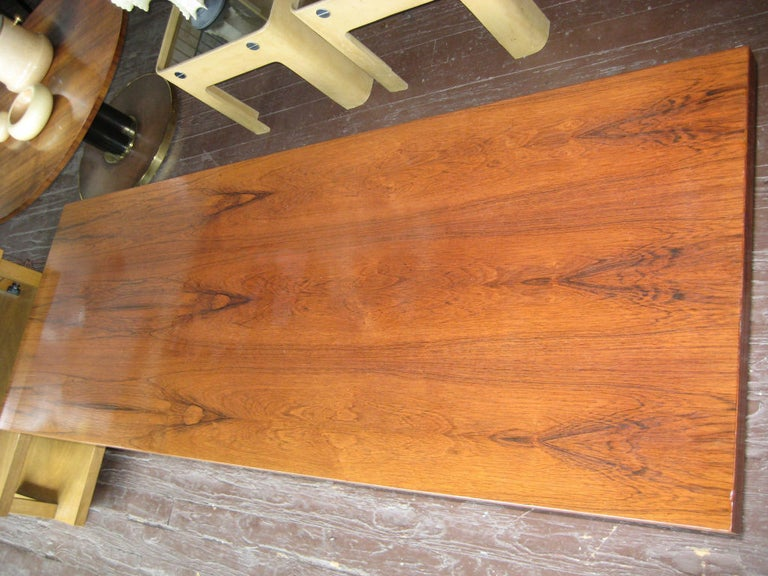 Danish Rosewood and Steel Coffee Table In Good Condition For Sale In Hudson, NY