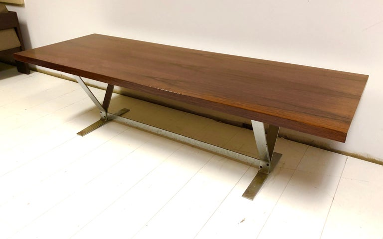 Mid-20th Century Danish Rosewood and Steel Coffee Table For Sale