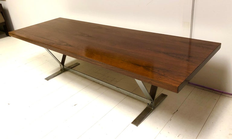 Danish Rosewood and Steel Coffee Table For Sale 1