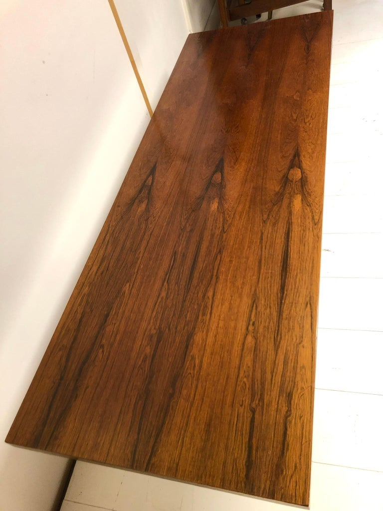 Danish Rosewood and Steel Coffee Table For Sale 3