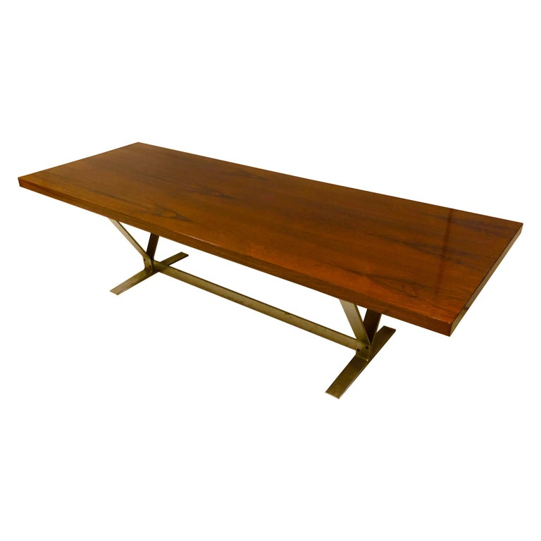 Danish Rosewood and Steel Coffee Table For Sale