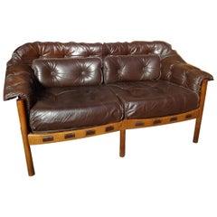 Danish Teak Arne Norell Brown Vintage Retro 1960's Leather Sofa