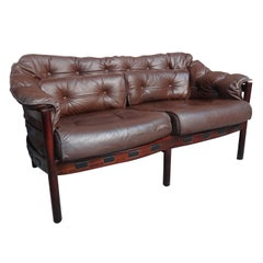 Danish Rosewood Arne Norell Brown Vintage Retro 1960's Leather Sofa