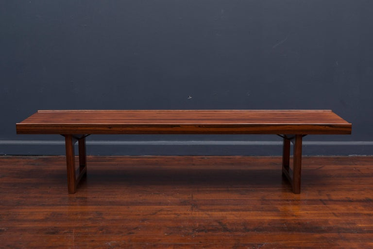 High quality Danish modern rosewood bench or coffee table by Bruskbo, Norway. Perfectly refinished.