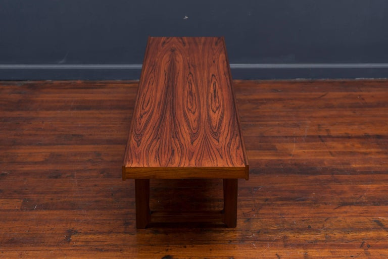 Norwegian Danish Rosewood Bench or Coffee Table For Sale