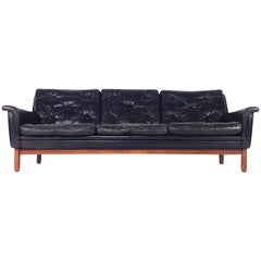 Danish Rosewood Black Leather Three-Seat Sofa, Denmark, 1950s-1960s