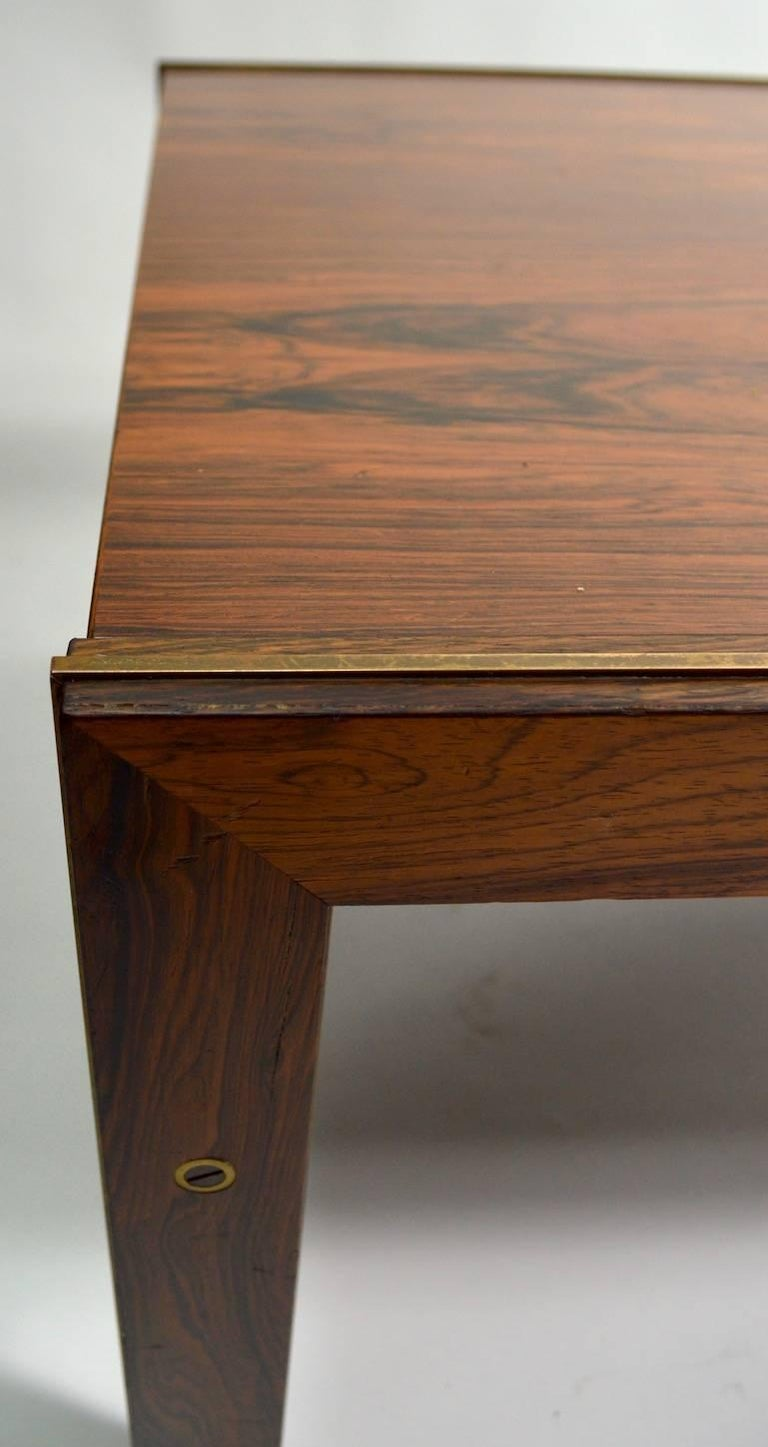 Brass Danish Rosewood Coffee Table by CFC Silkeborg Attributed to Illum Wikkelsø For Sale