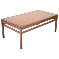 Danish Rosewood Coffee Table with Etched Copper Top