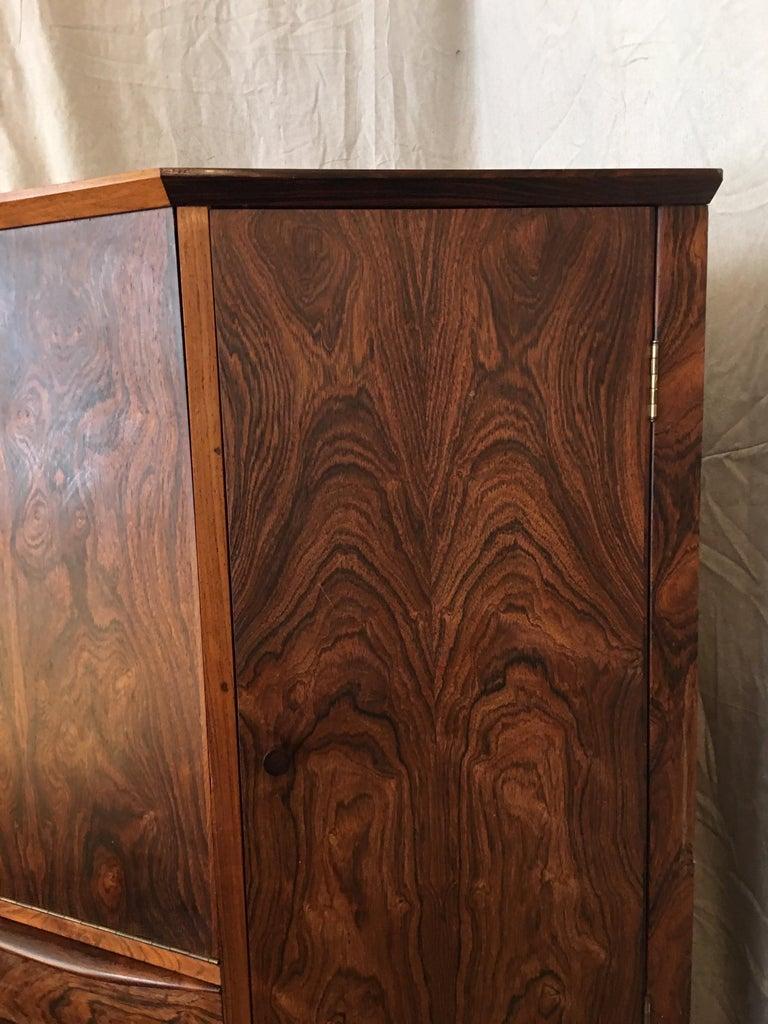 Scandinavian Modern Danish Rosewood Corner Bar Cabinet For Sale