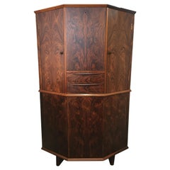 Danish Rosewood Corner Bar Cabinet