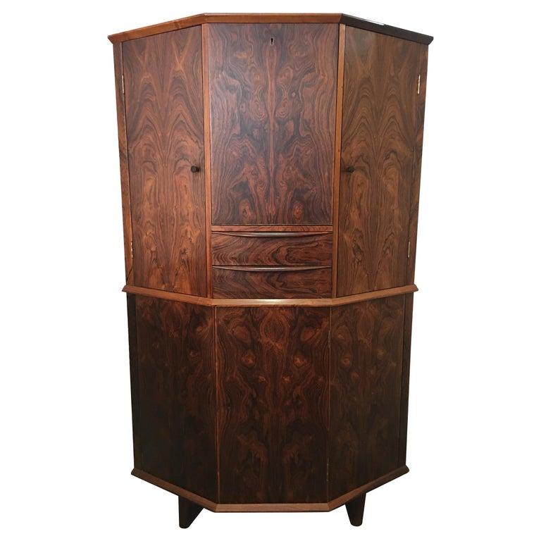 Danish Rosewood Corner Bar Cabinet For Sale