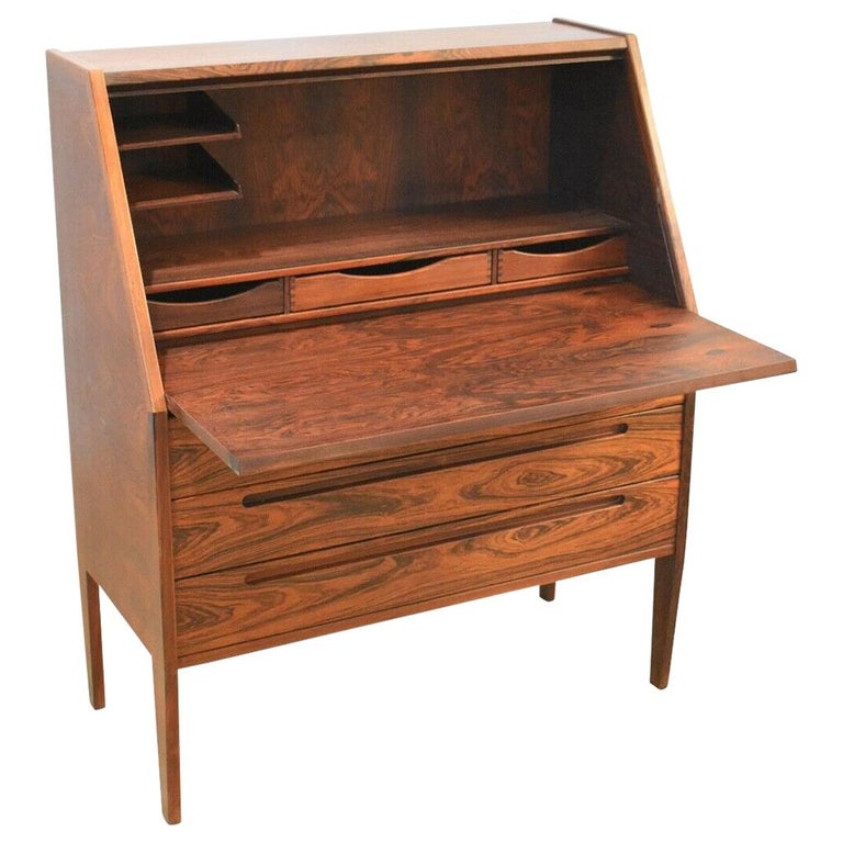 Danish Rosewood Desk/ Bureau/ Secretaire by Nils Jonsson for Møbelfabrik, 1960s For Sale