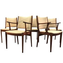 Danish Rosewood Dining Room Chairs Attributed to Johannes Anderson, Set of Five