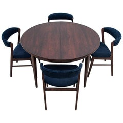 Danish Rosewood Dining Room Omann Jun Table Set with Chairs