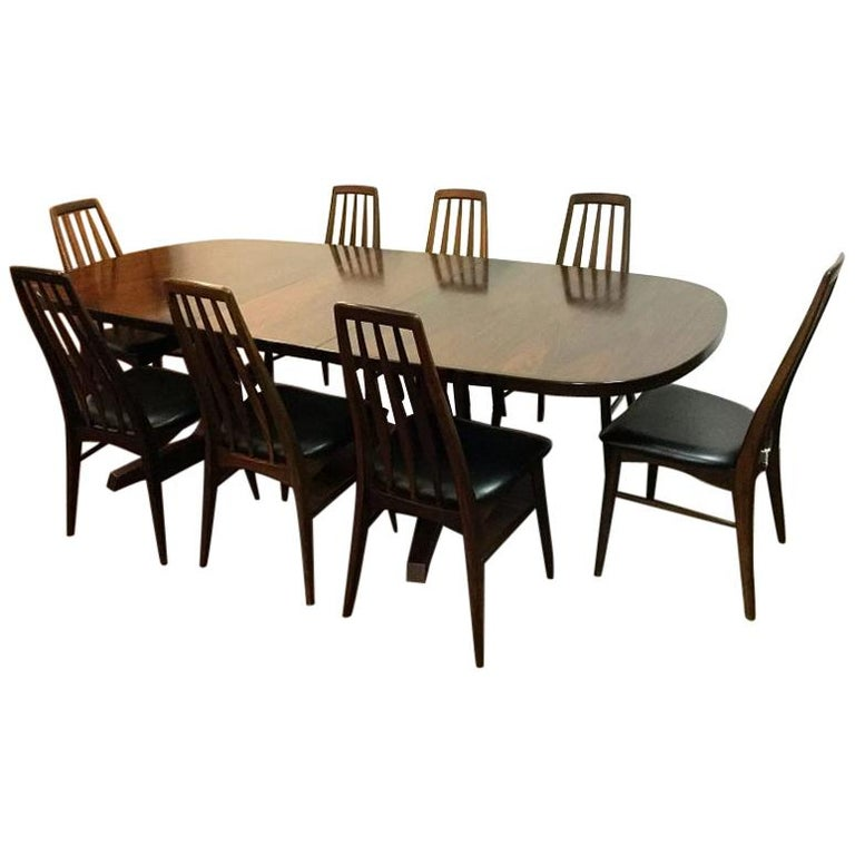 Danish Rosewood Dining Table Set Including 8 Eva Chairs By Niels Koefoed