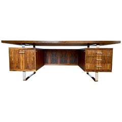 Danish Rosewood Executive Desk by Jorgen Pedersen