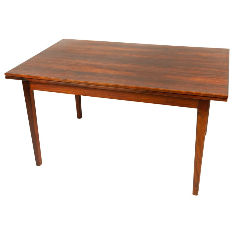 Danish Rosewood Extendable Dining Table, 1960s For Sale