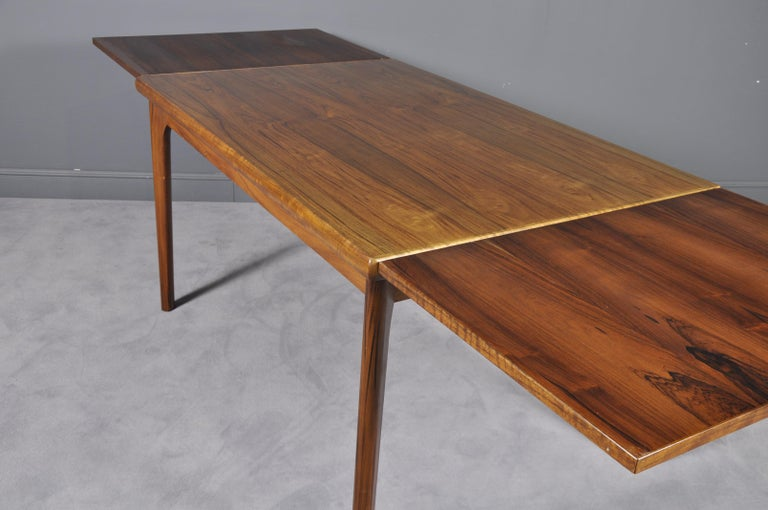 Danish Rosewood Extendable Dining Table by Henning Kjærnulf for Vejle,1960s For Sale 1