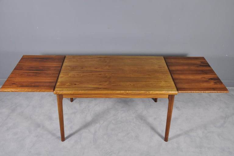 Danish Rosewood Extendable Dining Table by Henning Kjærnulf for Vejle,1960s For Sale 2