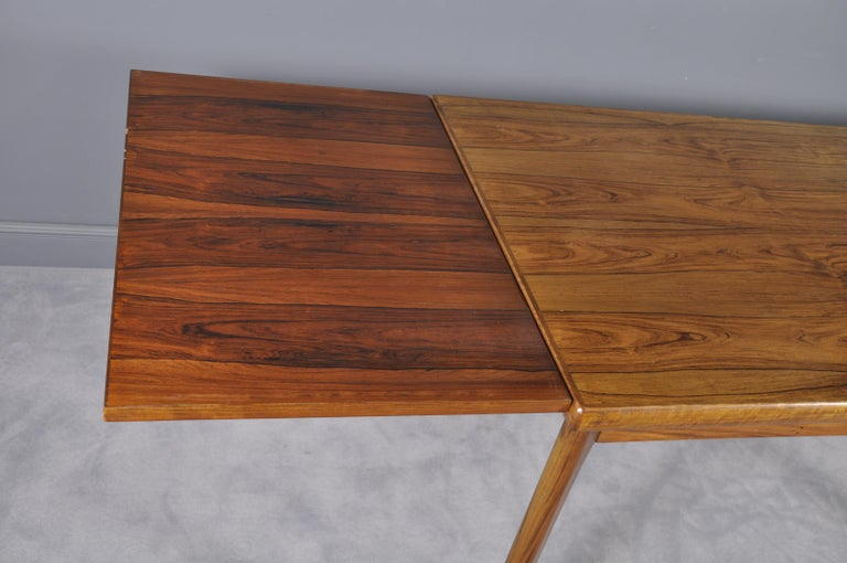 Danish Rosewood Extendable Dining Table by Henning Kjærnulf for Vejle,1960s For Sale 4