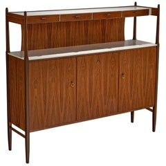 Danish Rosewood Highboard with Brass Details