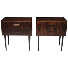 Danish Rosewood Nightstand Bedside Tables with Drawers