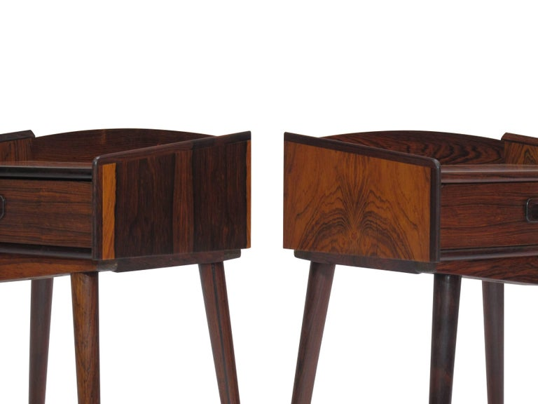 Danish Rosewood Nightstand Side Tables with Drawers In Excellent Condition For Sale In Berkeley, CA