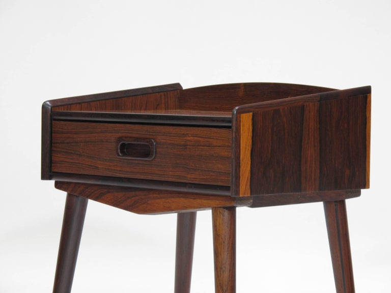 Danish Rosewood Nightstand Side Tables with Drawers For Sale 1