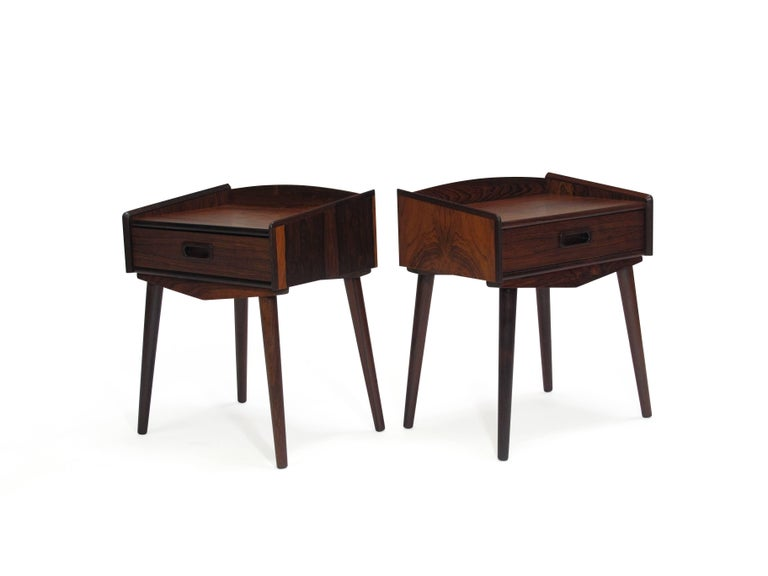 Danish Rosewood Nightstand Side Tables with Drawers For Sale 2