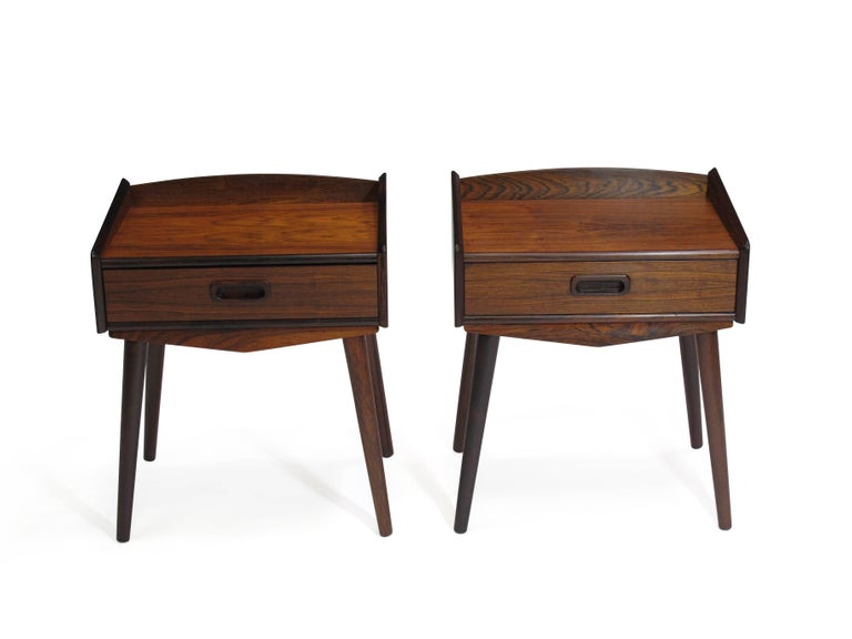 Danish Rosewood Nightstand Side Tables with Drawers For Sale 3